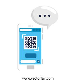 qr code inside smartphone and bubble vector design