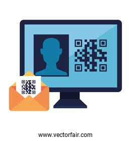 qr code inside envelope and computer isolated icon