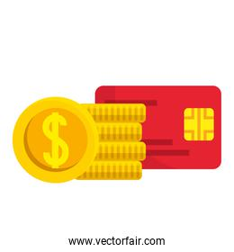 Isolated credit card and coins vector design