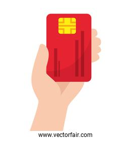 Isolated hand holding credit card vector design