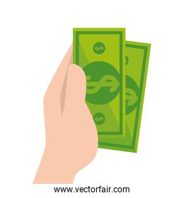 Isolated hand holding money bills vector design