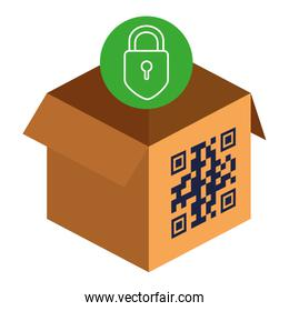 qr code over box and padlock vector design