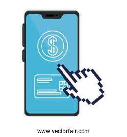 Isolated credit card inside smartphone vector design