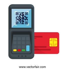 qr code inside dataphone and credit card vector design