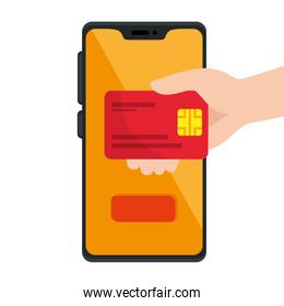 Isolated credit card and smartphone vector design