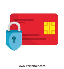 Isolated credit card with padlock vector design