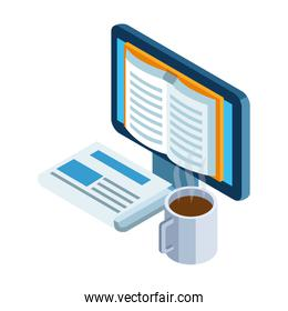 newspaper, coffee mug and computer with book on screen
