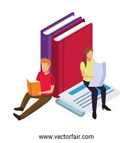 faceless man and woman reading around of big books and newspaper