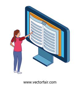 woman pointing a computer with book in screen, colorful design