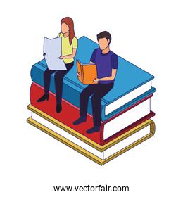 faceless people reading sitting on stack of books