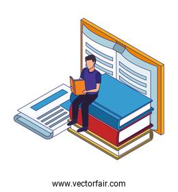big books and man reading, colorful design