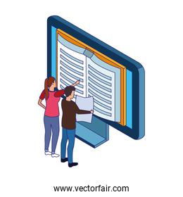 woman and man pointing a book on computer screen, colorful design