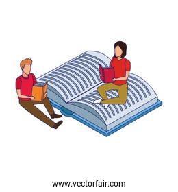 man and woman reading sitting in open book