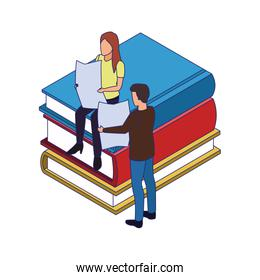 books and people reading around, colorful design