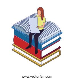 woman reading a newspaper sitting on books