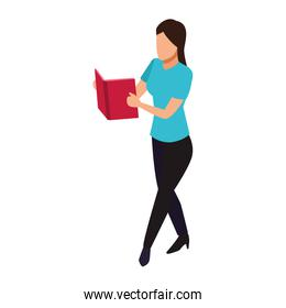 woman reading a book standing, colorful design