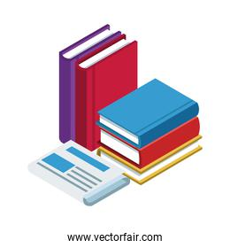 newspaper and academic books, colorful design