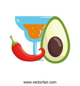 Isolated mexican cocktail avocado and chilli vector design