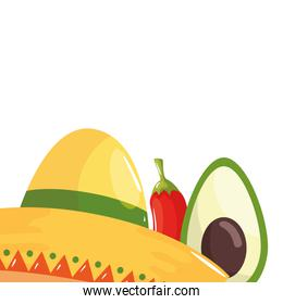 Isolated mexican hat avocado and chilli vector design