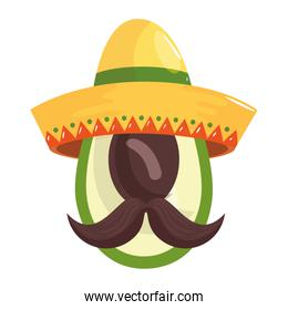 Isolated mexican avocado with hat and mustache vector design