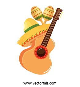 Isolated mexican guitar maracas and hat vector design