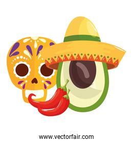 Isolated mexican skull chillis and avocado with hat vector design
