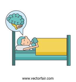 man sleeping on bed and speech bubble with brain icon