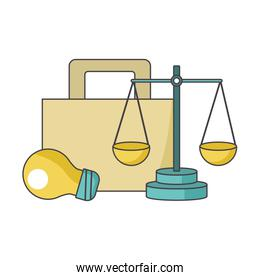 briefcase, light bulb and scale, colorful design