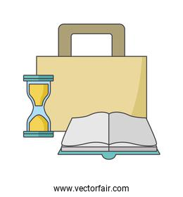 briefcase, hourglass and book, colorful design