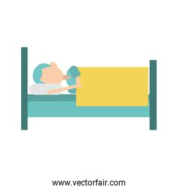 man sleeping on bed icon, colorful design