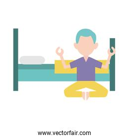 bed and meditating man icon , colorful design