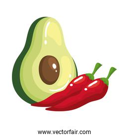 Isolated avocado and chillis vector design