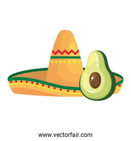 Isolated mexican hat and avocado vector design