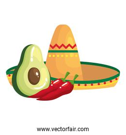 Isolated mexican hat avocado and chillis vector design