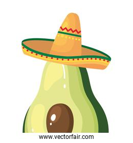 Isolated mexican avocado with hat vector design