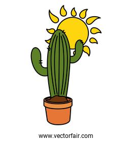 Isolated cactus plant and sun vector design