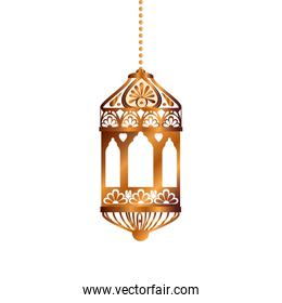 Isolated hanging gold lantern vector design