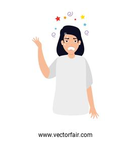 woman with stress attack icon