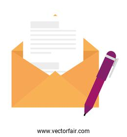 envelope open with paper and pen isolated icon