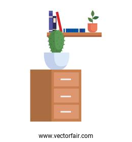 wooden drawer with cactus and books