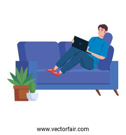man working in telecommuting sitting in couch