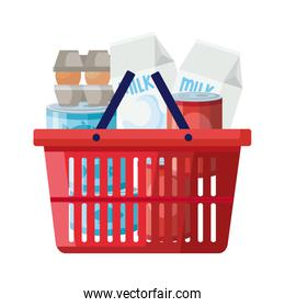 basket shopping with excess groceries