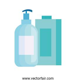 bottles of cleaning products isolated icon