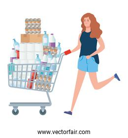 woman and cart shopping with excess groceries
