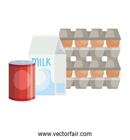 set eggs in package cardboard with food in can and box milk