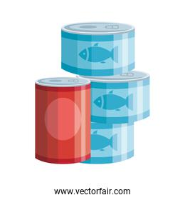 set of cans tuna food isolated icon