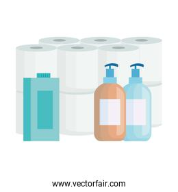 set toilet paper with bottles product cleaning