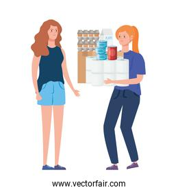 women buying in overstocking groceries