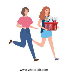 women and basket shopping with excess groceries