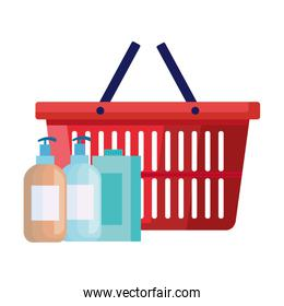 bottles of cleaning products with basket shopping